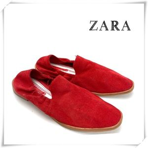 Zara Red Suede Slip-on Flats Loafers